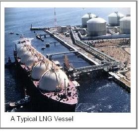 Typical LNG vessel at loading terminal